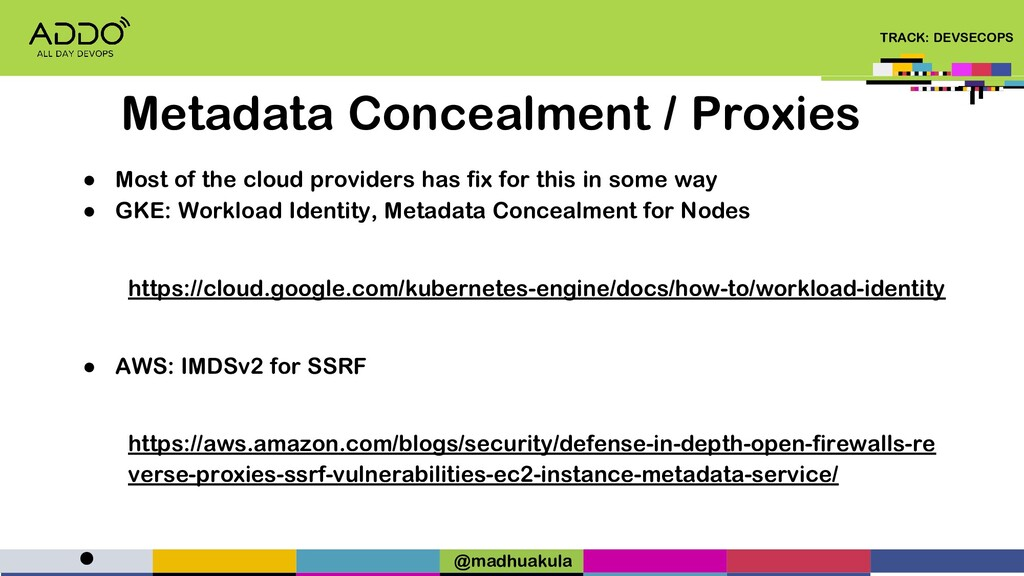 TRACK: DEVSECOPS ● Most of the cloud providers ...