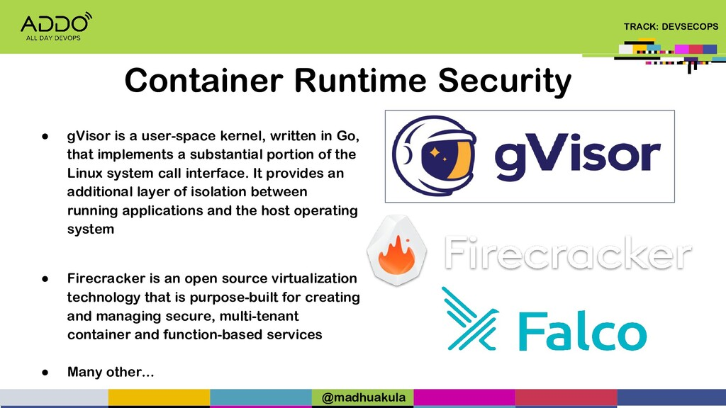 TRACK: DEVSECOPS Container Runtime Security ● g...