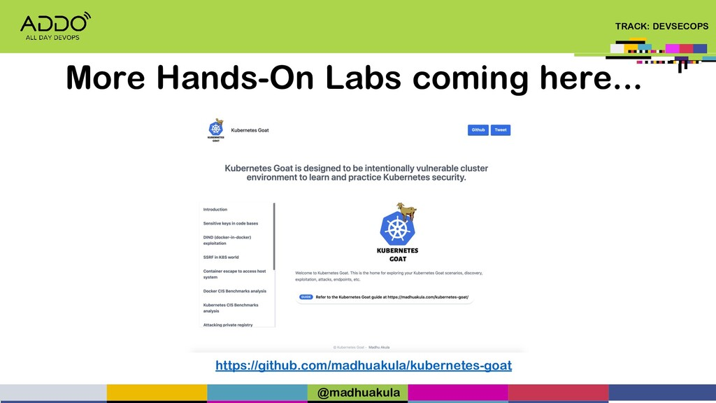 TRACK: DEVSECOPS More Hands-On Labs coming here...