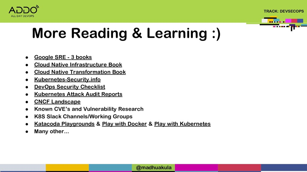 TRACK: DEVSECOPS ● Google SRE - 3 books ● Cloud...