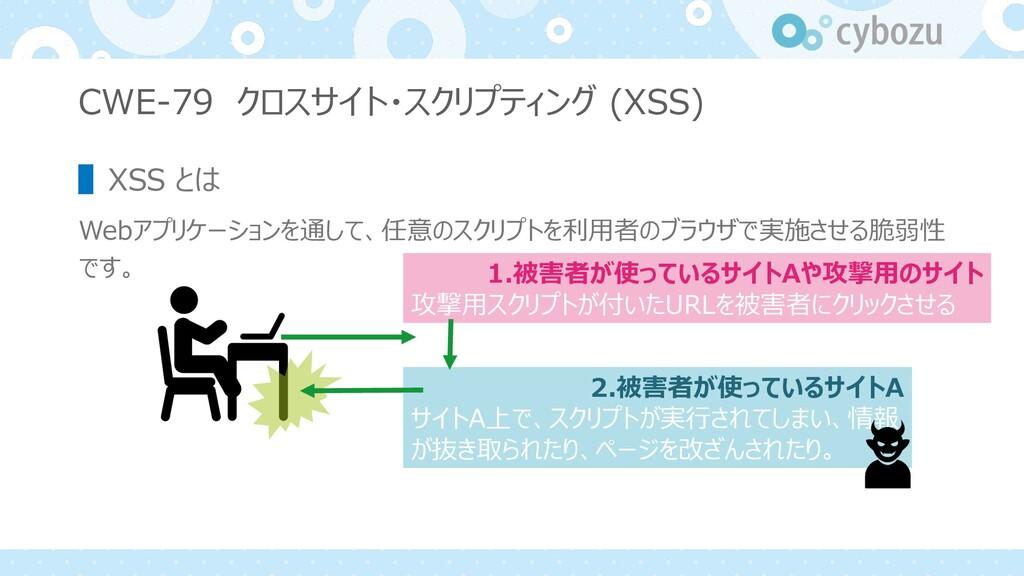 CWE-79 クロスサイト・スクリプティング (XSS) ▌XSS とは Webアプリケーショ...