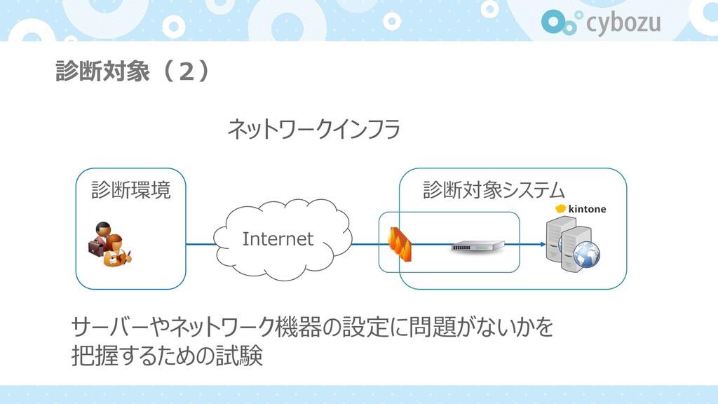 診断対象(2) ネットワークインフラ サーバーやネットワーク機器の設定に問題がないかを 把握す...