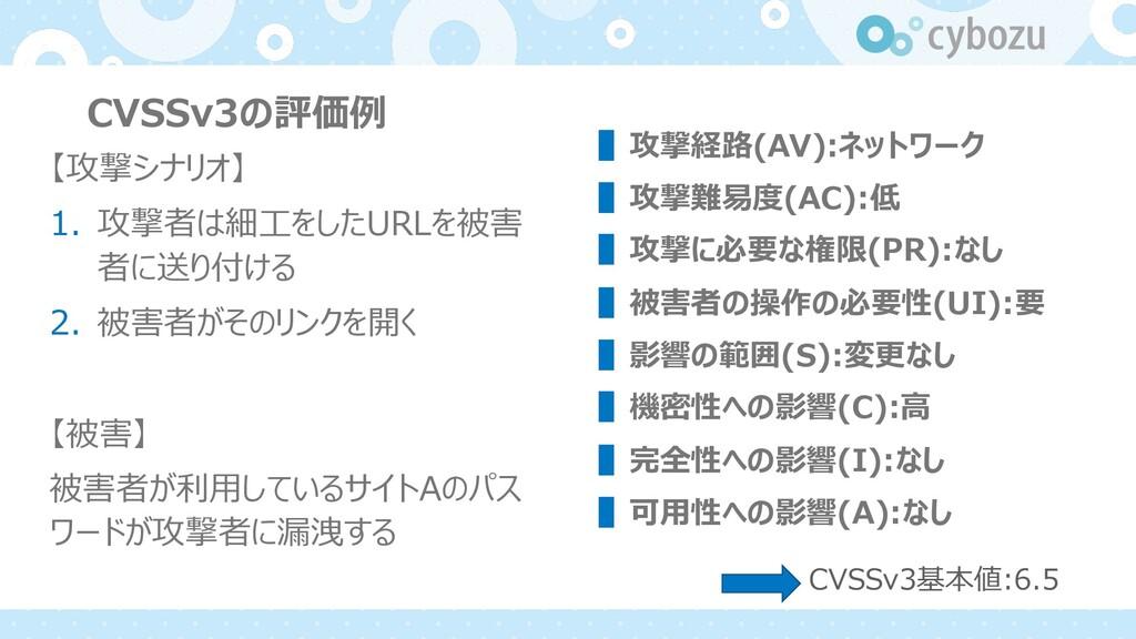 CVSSv3の評価例 【攻撃シナリオ】 1. 攻撃者は細⼯をしたURLを被害 者に送り付ける ...