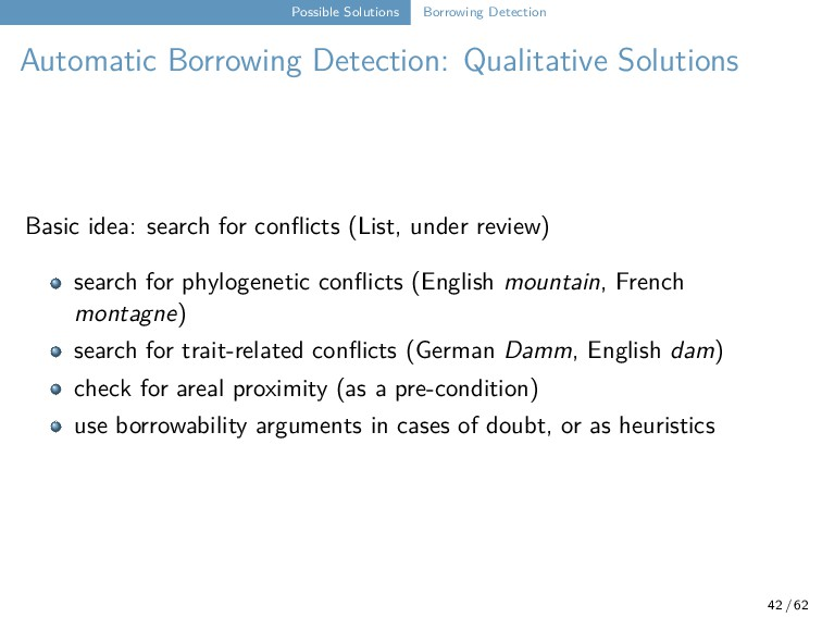 Possible Solutions Borrowing Detection Automati...