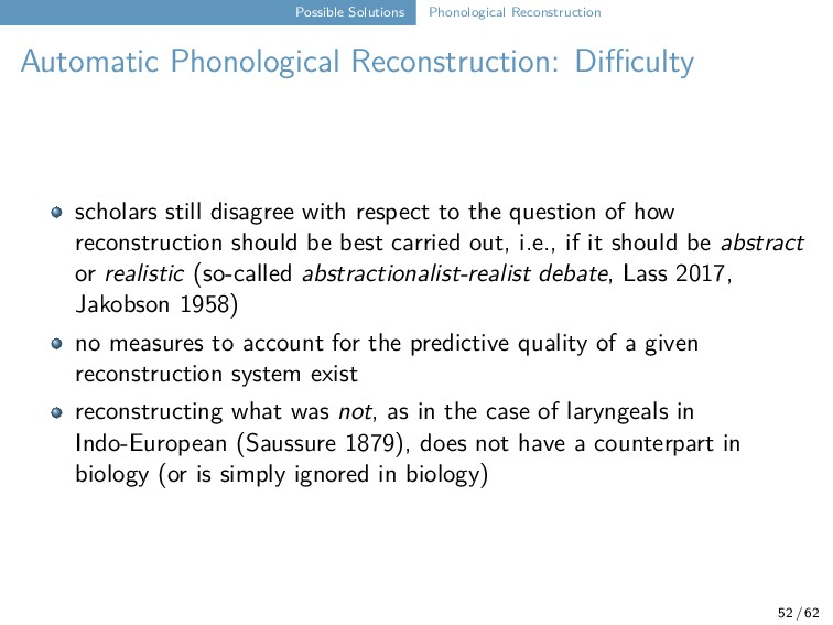 Possible Solutions Phonological Reconstruction ...