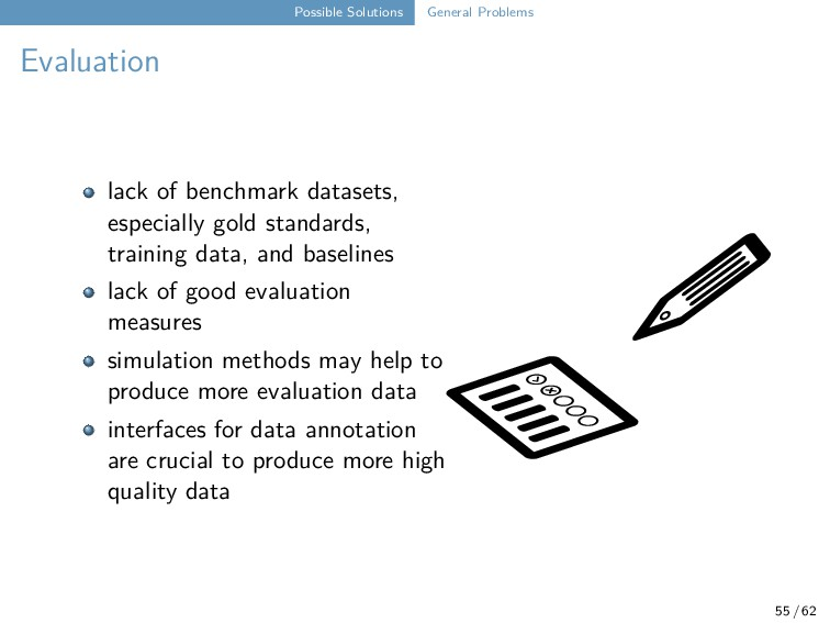 Possible Solutions General Problems Evaluation ...
