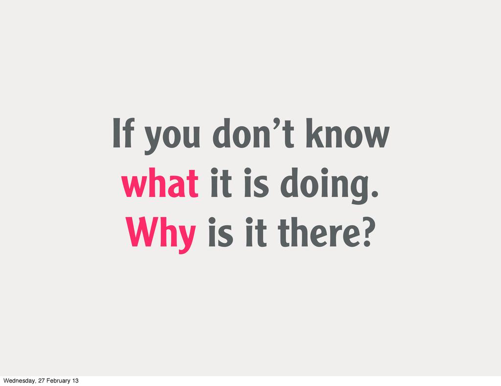 If you don't know what it is doing. Why is it t...