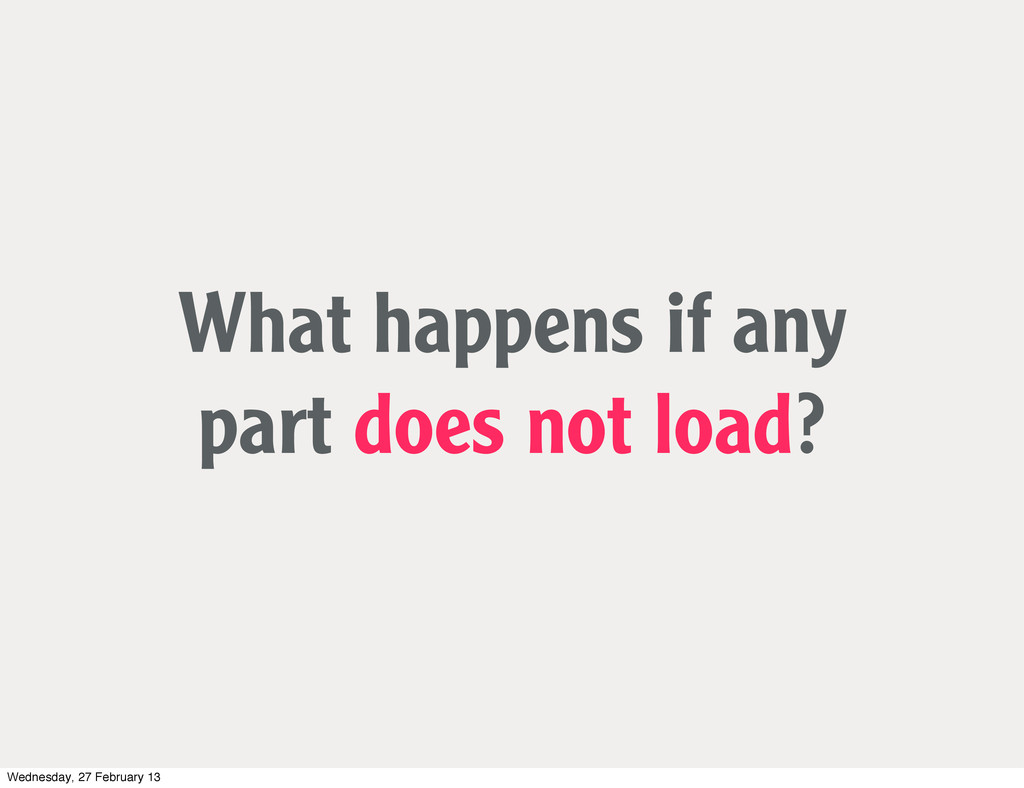 What happens if any part does not load? Wednesd...