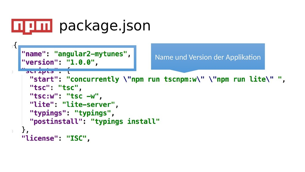 package.json Name und Version der Applikaton