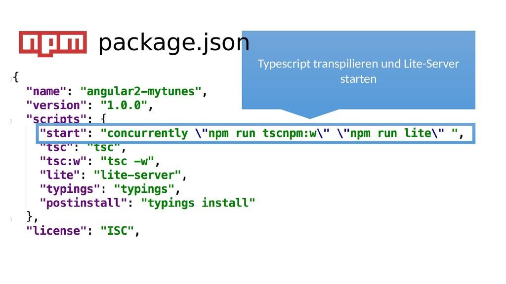 Typescript transpilieren und Lite-Server starte...