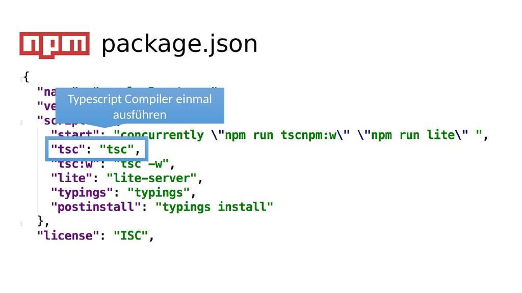 Typescript Compiler einmal ausführen package.js...