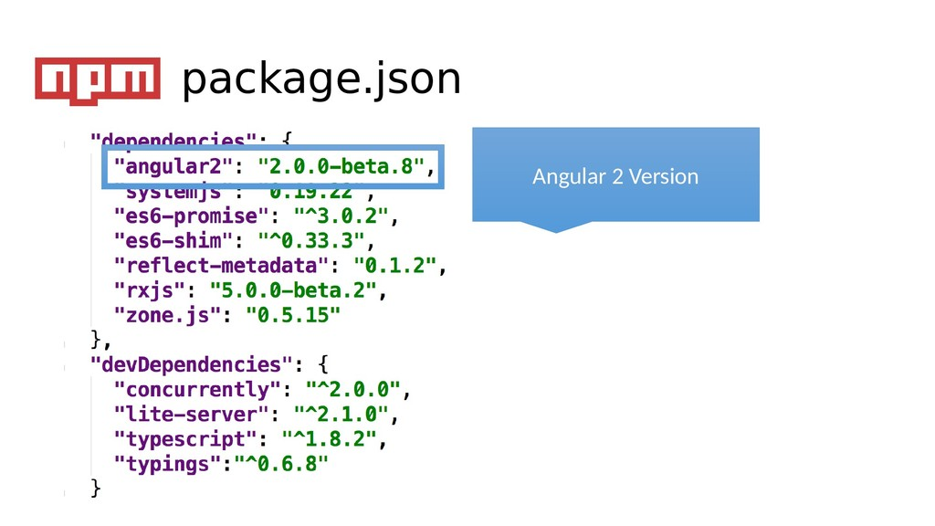 Angular 2 Version package.json