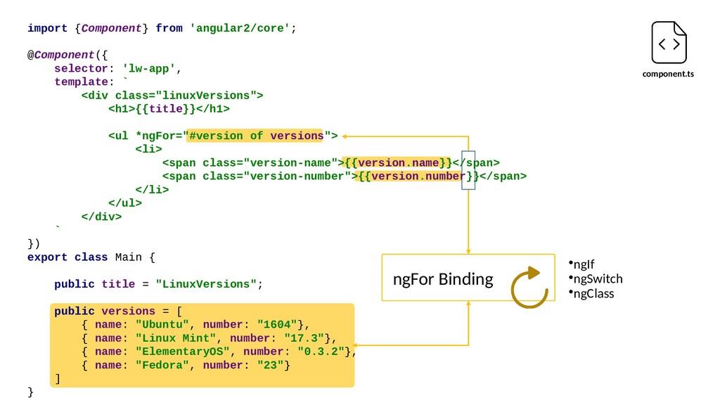component.ts ngFor Binding •ngIf •ngSwitch •ngC...