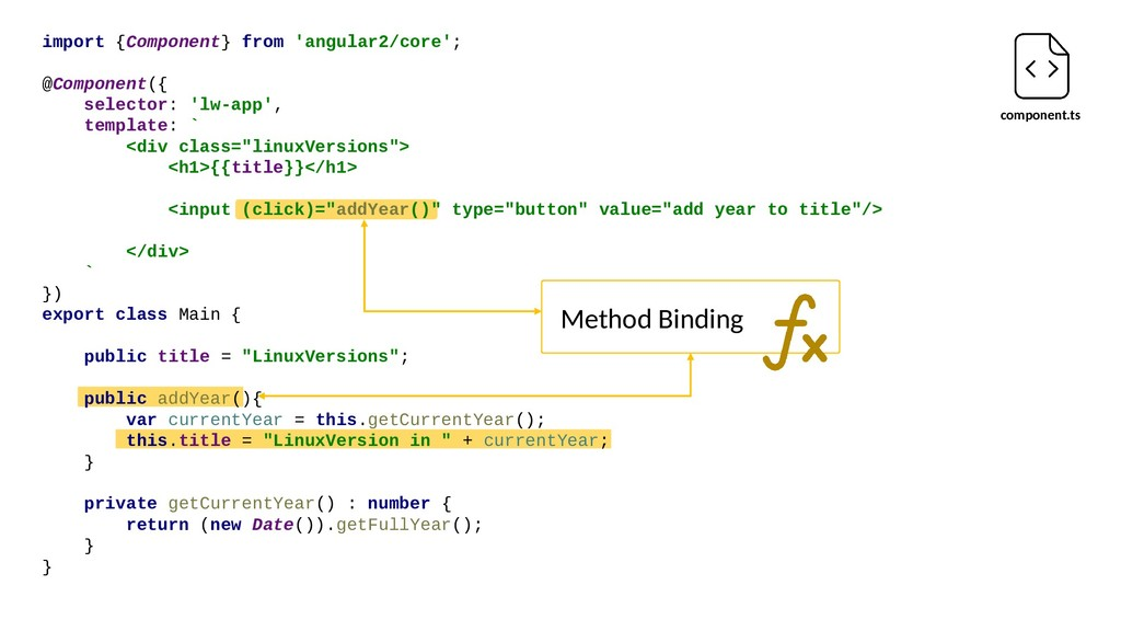 component.ts Method Binding import {Component} ...