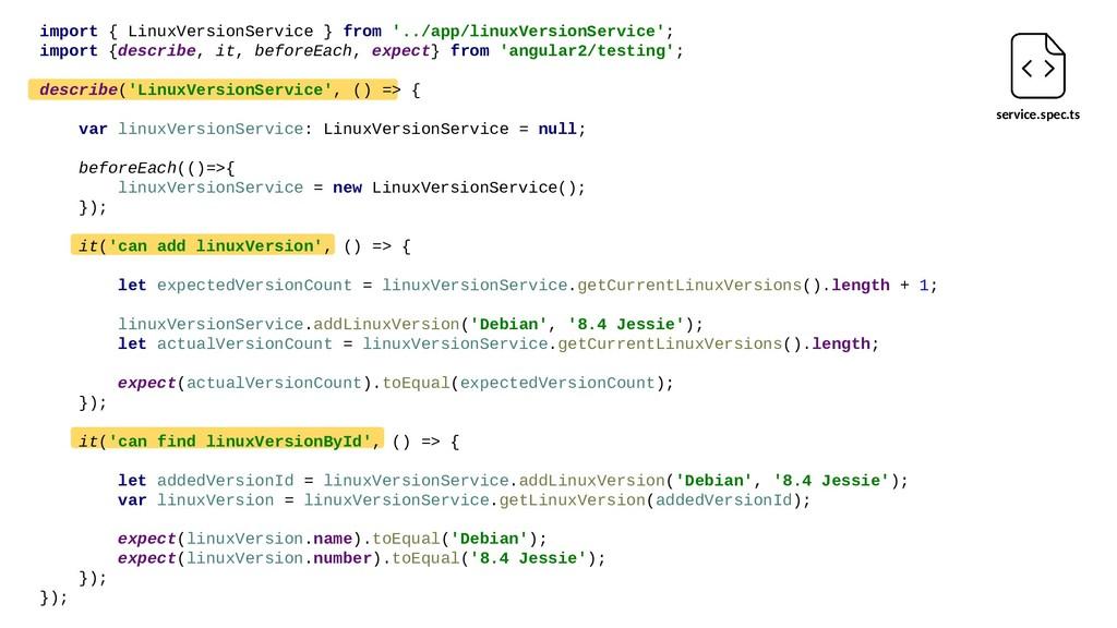 service.spec.ts import { LinuxVersionService } ...