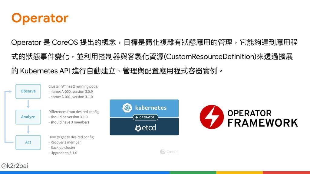@k2r2bai Operator Operator 是 CoreOS 提出的概念念,⽬目標是...