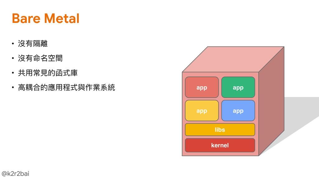 @k2r2bai kernel libs app app app app • 沒有隔離  • ...