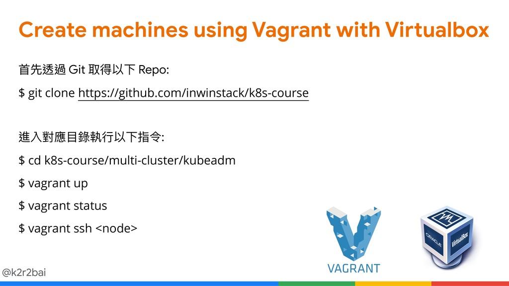 @k2r2bai Create machines using Vagrant with Vir...