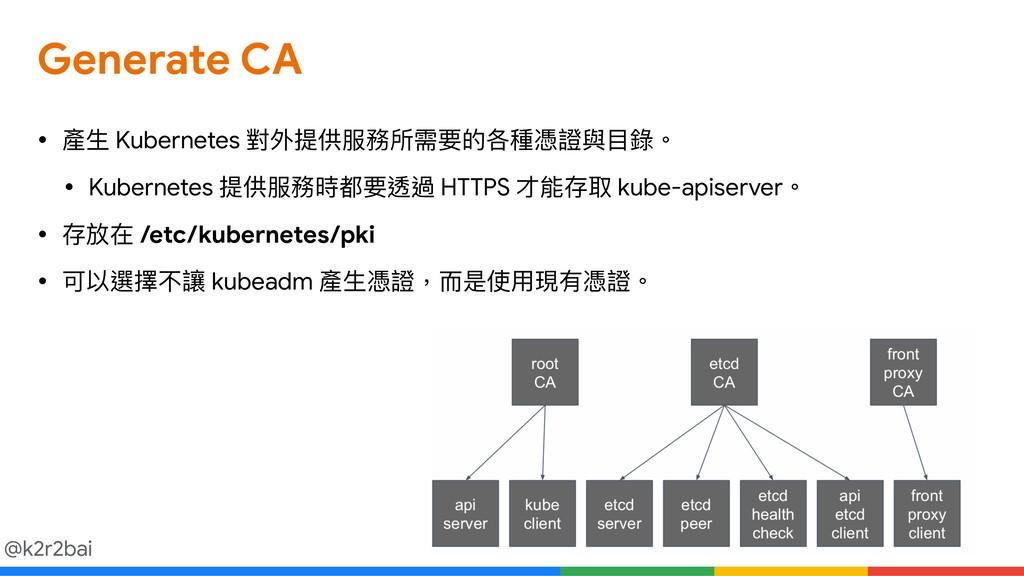 @k2r2bai Generate CA • 產⽣生 Kubernetes 對外提供服務所需要...