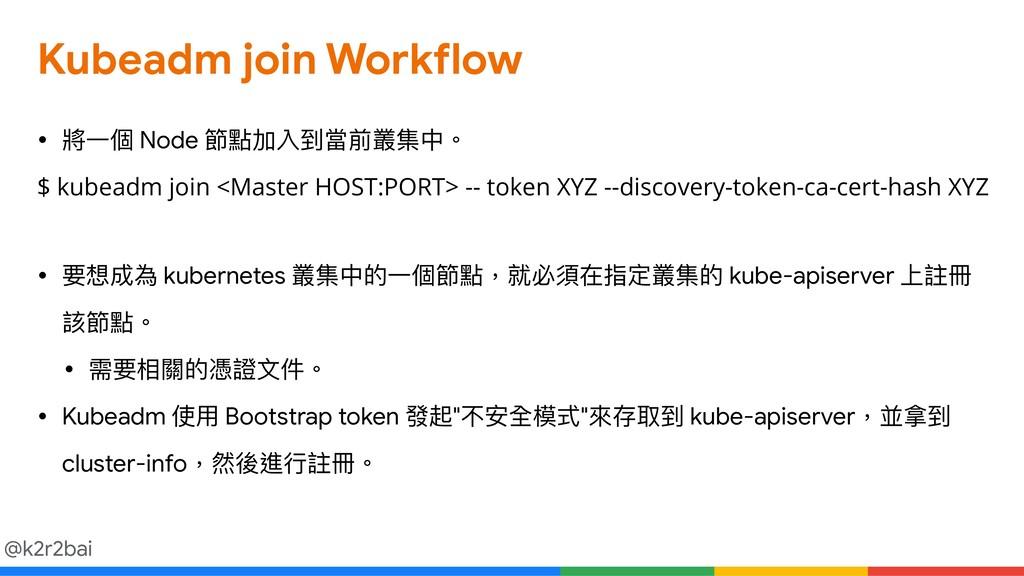 @k2r2bai Kubeadm join Workflow • 將⼀一個 Node 節點加入...