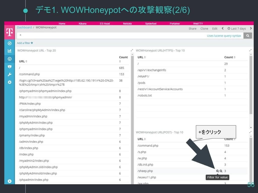 デモ1. WOWHoneypotへの攻撃観察(2/6) +をクリック 56