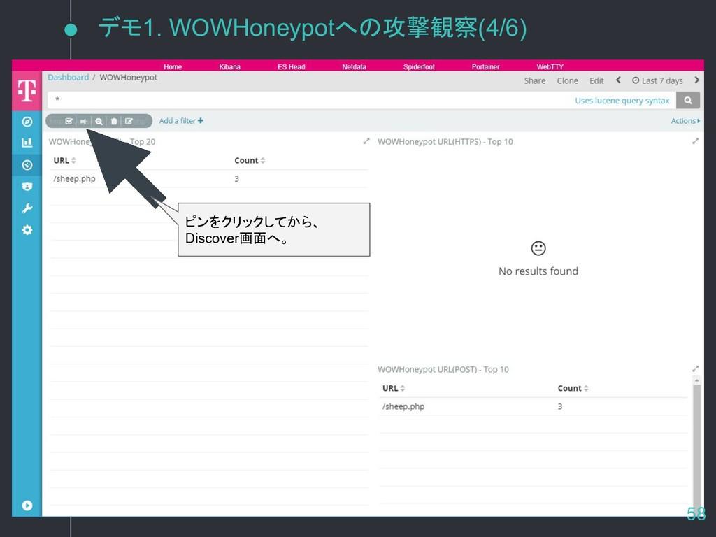 デモ1. WOWHoneypotへの攻撃観察(4/6) ピンをクリックしてから、 Discov...