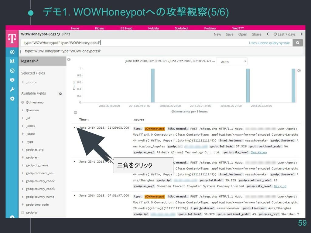 デモ1. WOWHoneypotへの攻撃観察(5/6) 三角をクリック 59