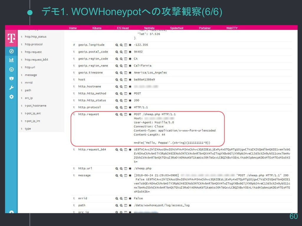 デモ1. WOWHoneypotへの攻撃観察(6/6) 60