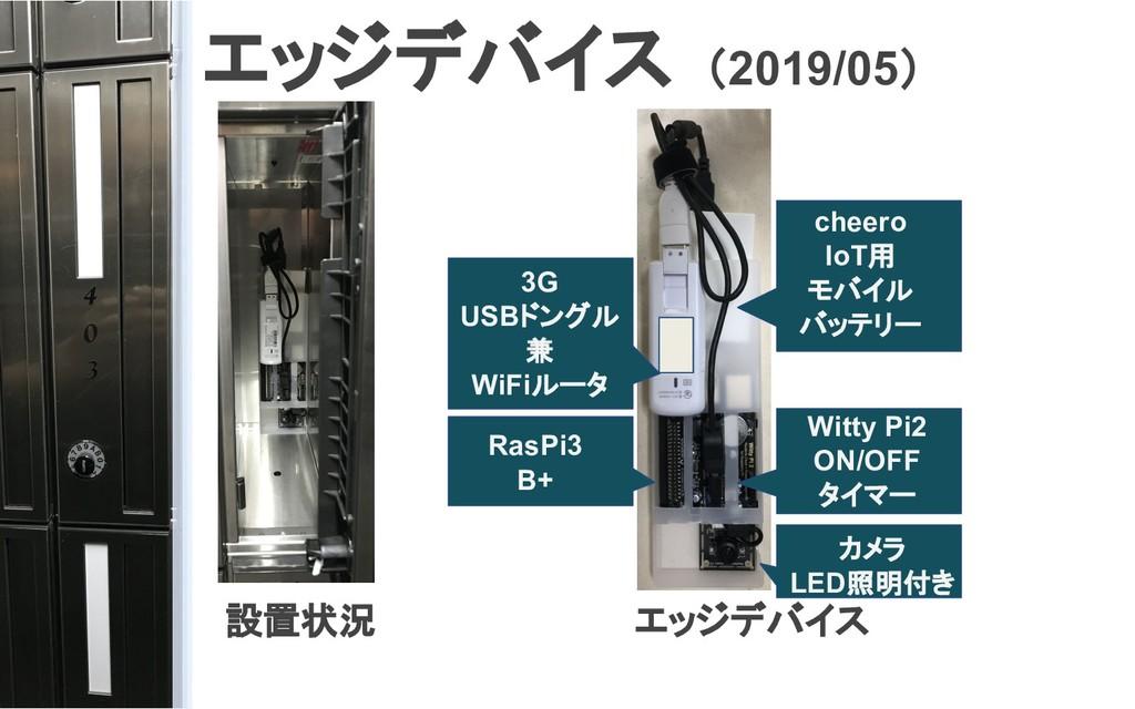 エッジデバイス (2019/05) 設置状況 エッジデバイス カメラ LED照明付き RasP...