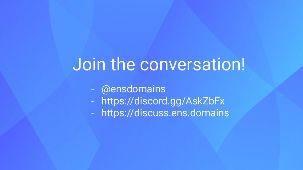 Join the conversation! - @ensdomains - https://...