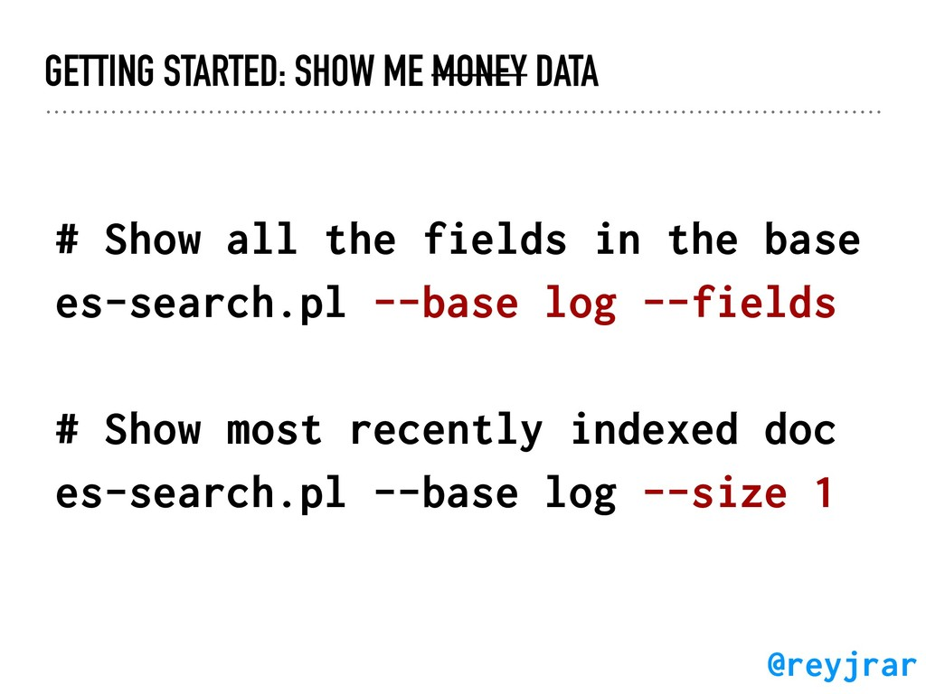 GETTING STARTED: SHOW ME MONEY DATA # Show all ...