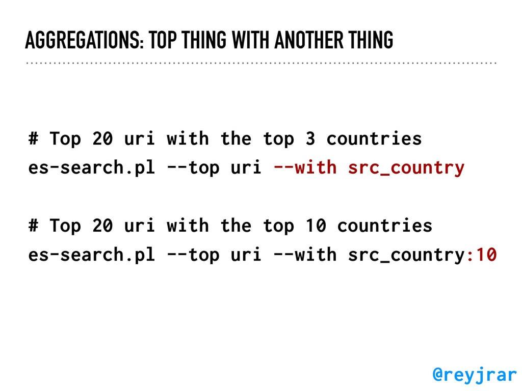 AGGREGATIONS: TOP THING WITH ANOTHER THING # To...