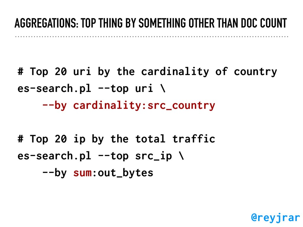 AGGREGATIONS: TOP THING BY SOMETHING OTHER THAN...