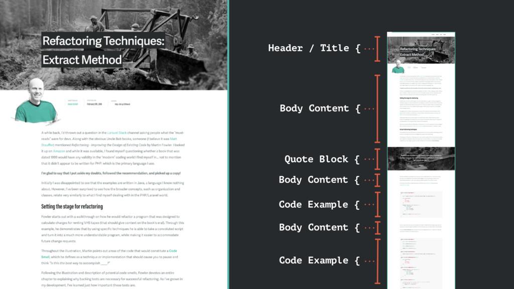 Header / Title { Body Content { Quote Block { B...