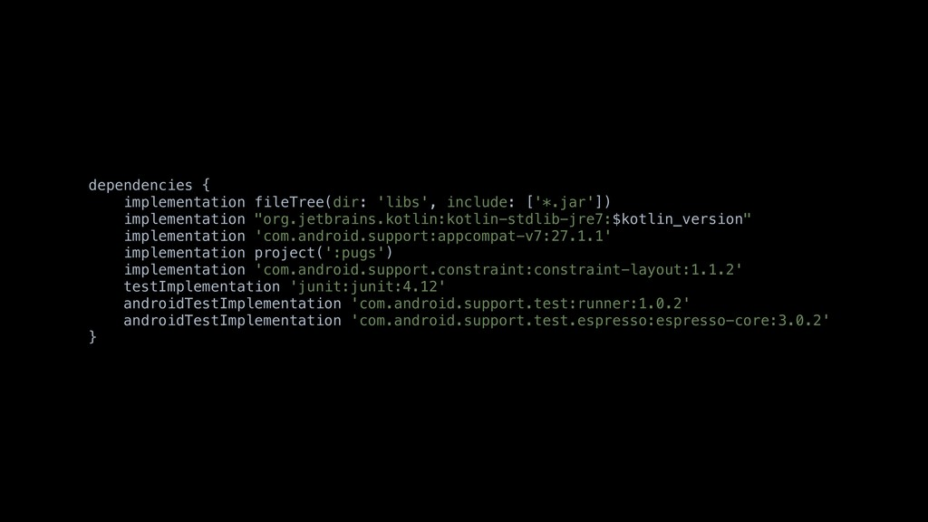 dependencies { implementation fileTree(dir: 'li...