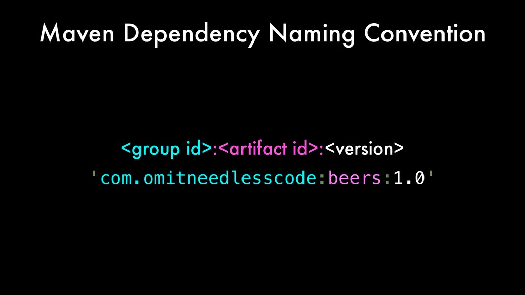 Maven Dependency Naming Convention <group id>:<...