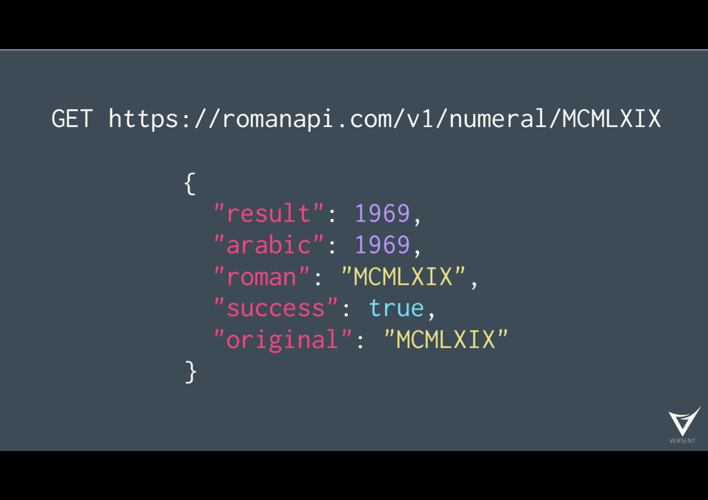 "GET https://romanapi.com/v1/numeral/MCMLXIX { ""..."
