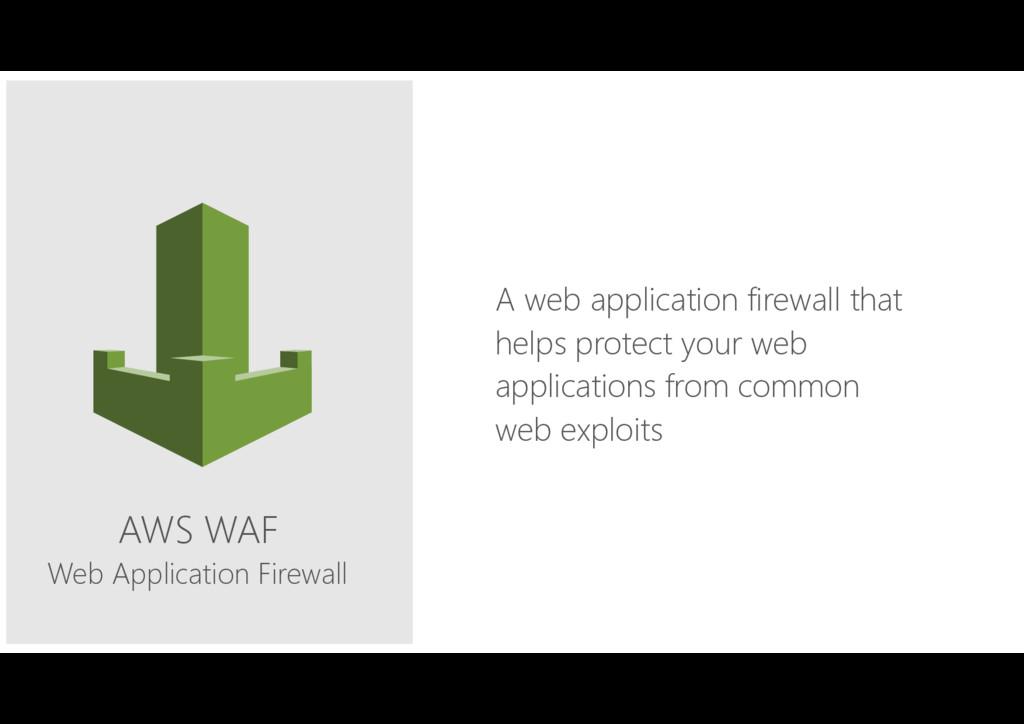 AWS WAF Web Application Firewall A web applicat...