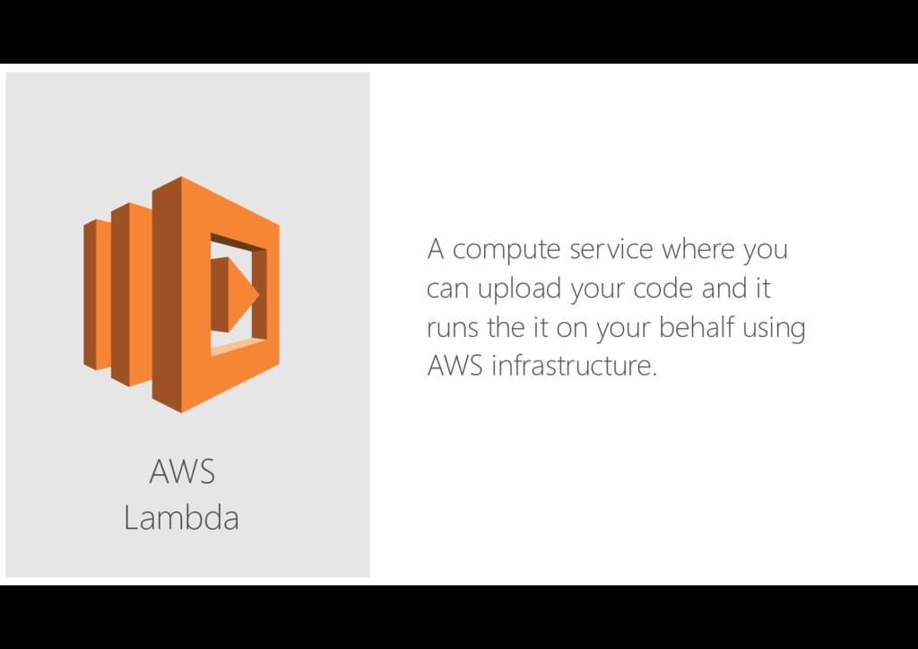 AWS Lambda A compute service where you can upl...