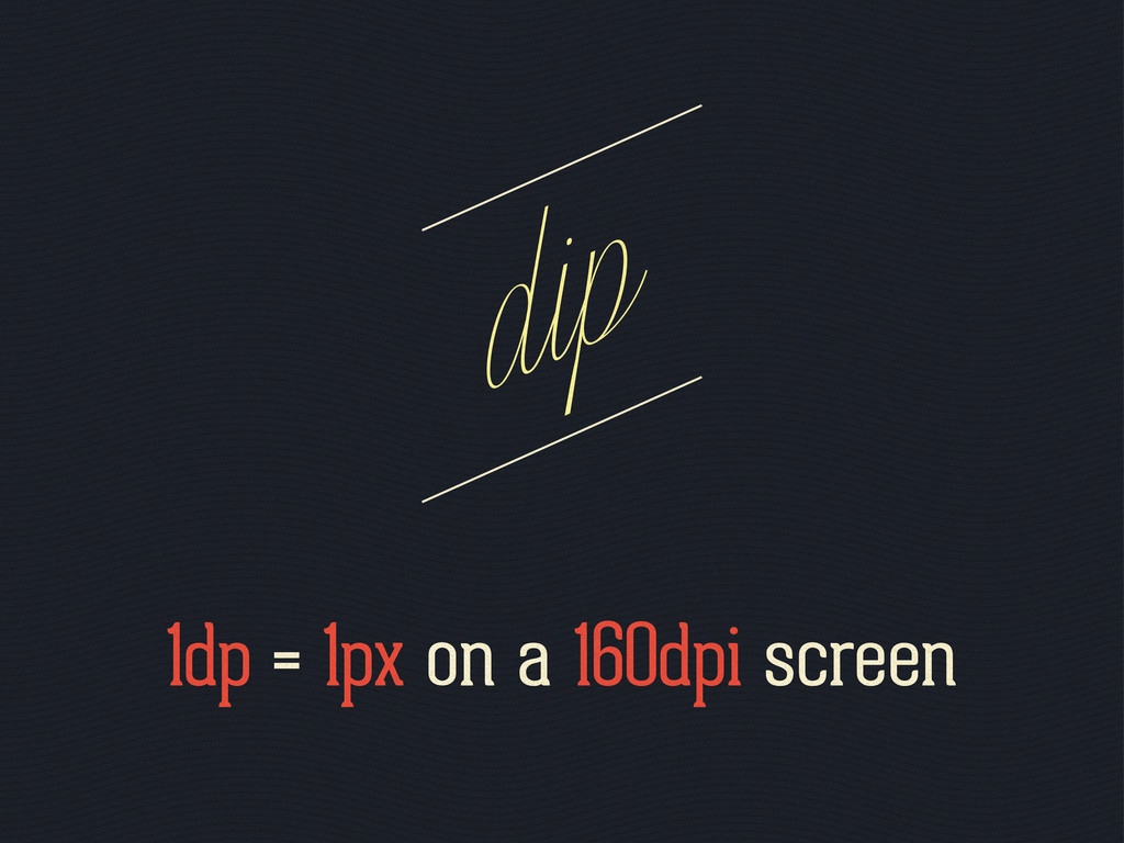 1dp = 1px on a 160dpi screen dip
