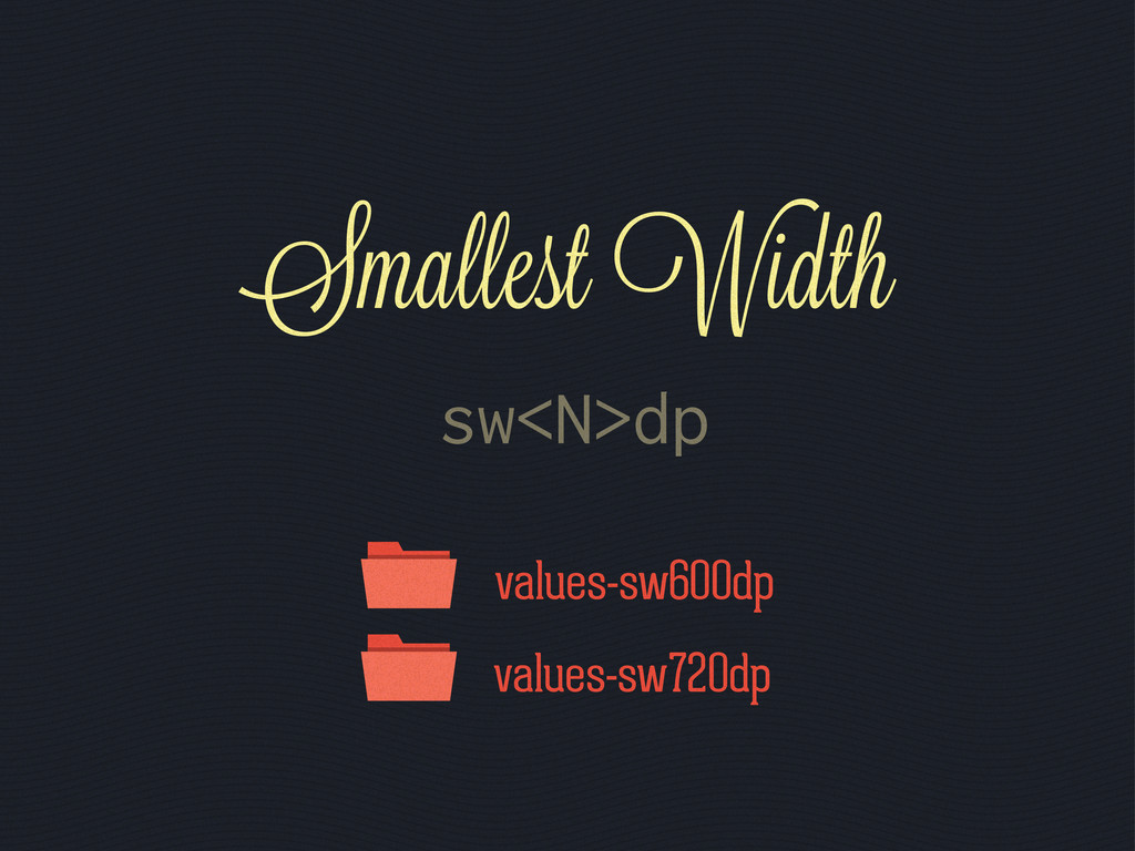 values-sw600dp values-sw720dp sw<N>dp Smallest ...