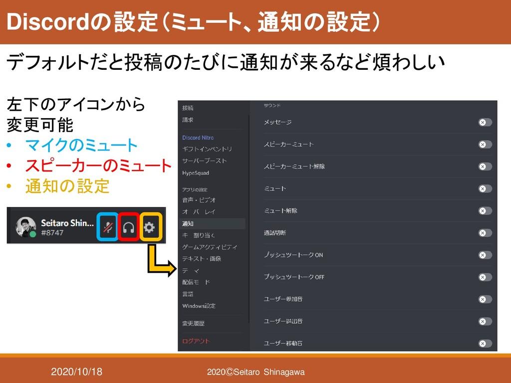 2020/10/18 2020ⒸSeitaro Shinagawa Discordの設定(ミュ...