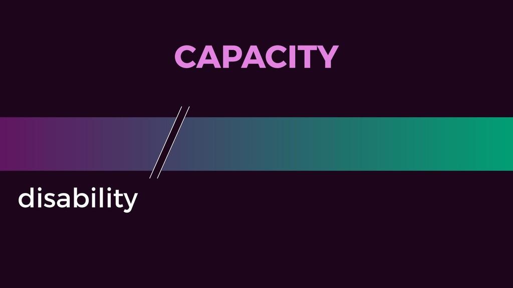 CAPACITY disability