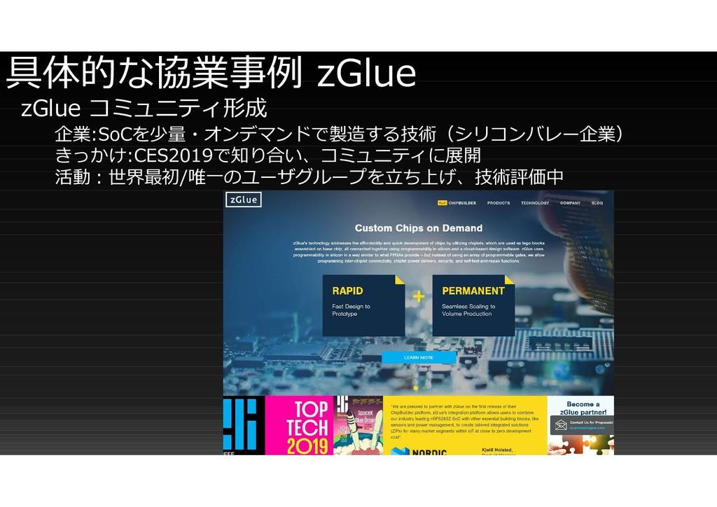 具体的な協業事例 zGlue zGlue コミュニティ形成 企業:SoCを少量・オンデマンドで...