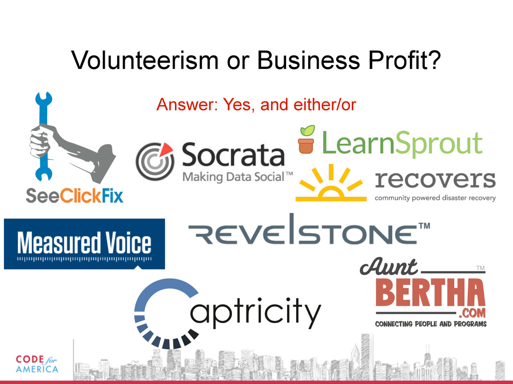 Volunteerism or Business Profit? Answer: Yes, a...