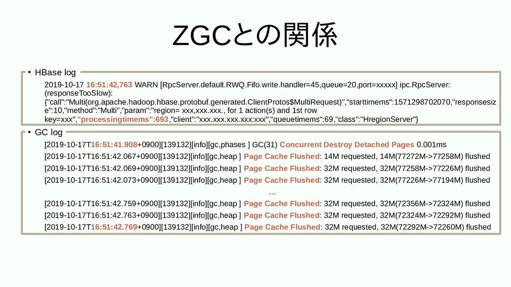 ZGCと不整合のメッセンジャー関係 ● HBase log 2019-10-17 16:51:...