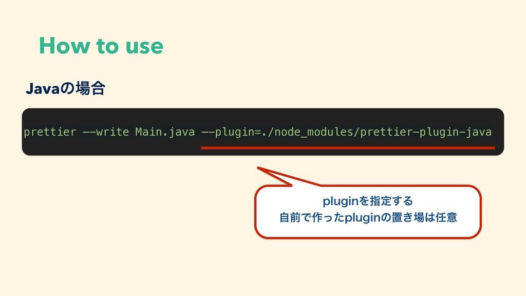 How to use prettier —-write Main.java —-plugin=...