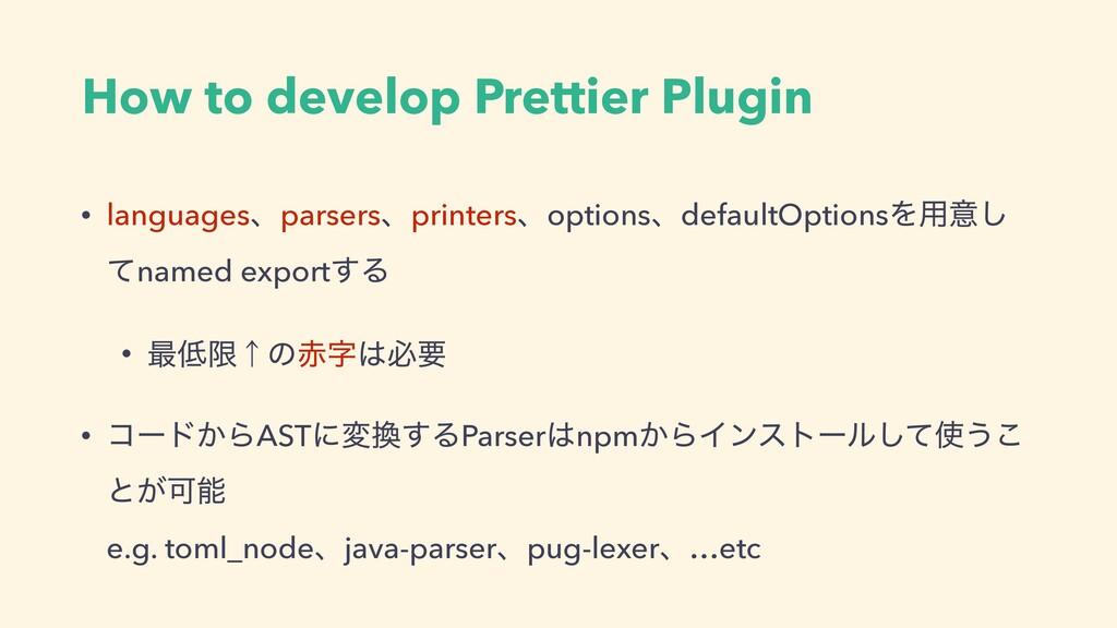 How to develop Prettier Plugin • languagesɺpars...