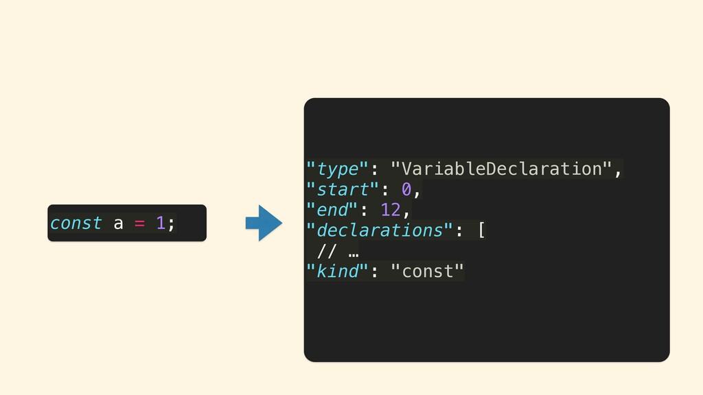 """type"": ""VariableDeclaration"", ""start"": 0, ""end..."