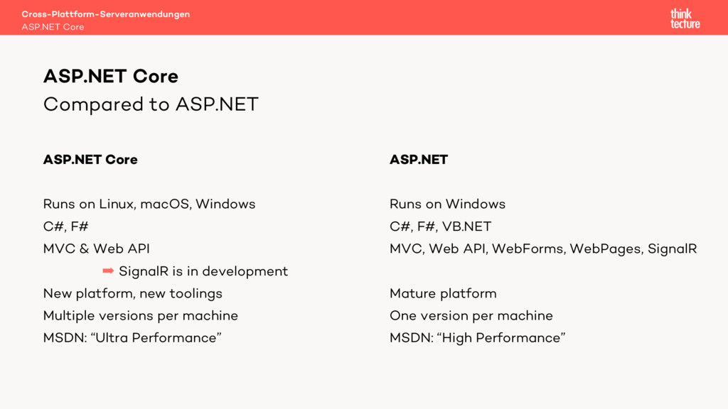 Compared to ASP.NET ASP.NET Core Runs on Linux,...